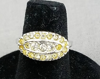 Vintage Rhinestone Ring, Sterling Silver Ring, Statement Ring, Costume Jewelry Gift for Her, Classic Rhinestone Ring, Elegant Vintage Ring