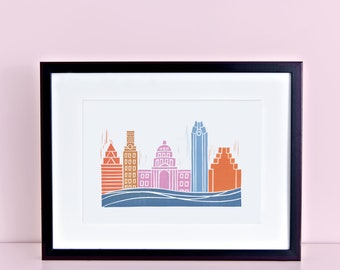 Austin Skyline Digital Print - Texas State Capitol, Frost Building, University of Texas UT Tower, Lady Bird Lake