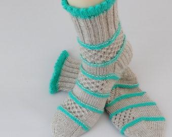 Knit socks womens Knitted socks Hand knit women Hand knit socks for women Socks knitted Handmade house socks women size M 6/8 US