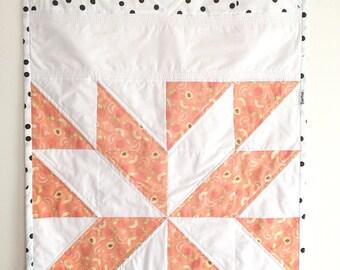 """Modern baby quilt """"Peach"""" handmade - Handmade modern quilt """"Peach"""""""