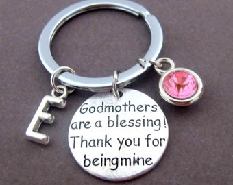 Godmothers gift,Godmother Keychain,Godmother are a Blessing Thank You for being mine,,Gift from Child,Baptism,Christening, Free Shipping USA