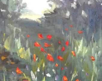"Small Landscape Painting, Poppy Painting, ""Mountain Poppy field"" by Carol Schiff, 8x10"" Oil, Reduced from 199.00"
