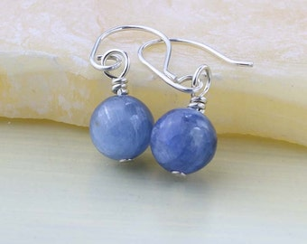 Blue Kyanite Earrings, Mini Drop Gemstone Earrings, Grade AA Kyanite Gemstones, Blue Earrings, Bridesmaid Gift