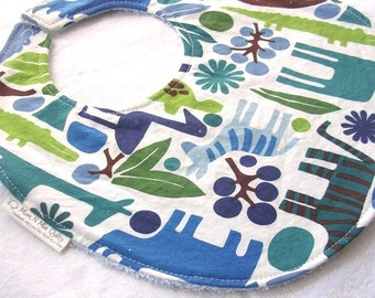 Baby Boy or Toddler Boy Bib - 2D Zoo in Blue - Boutique Bib with terry cloth backing