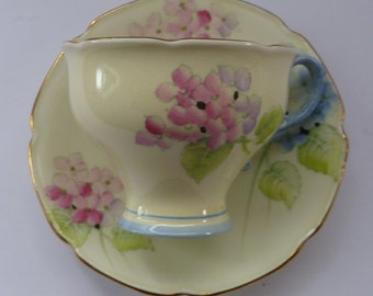 1930s PARAGON Bone China Hortensia Pattern Appointment to QUEEN MARY  Tea Cup & Saucer. Beautiful and Rare