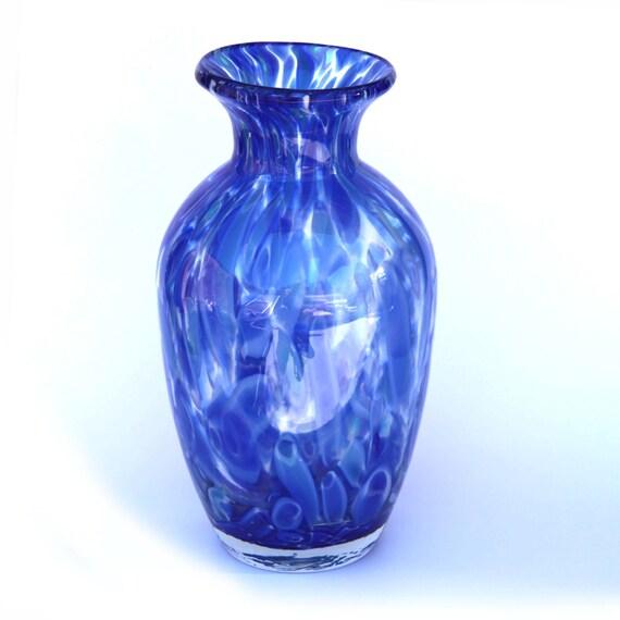 Cherryrevolver Blown Glass Vase Blue Murini Blown Glass Vase