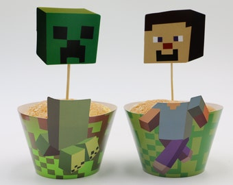 24 set Minecraft inspired  cupcake wrappers and toppers Minecraft Party Decoration