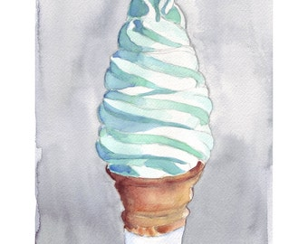 5x7 Vanilla Ice Cream Cone Illustration Watercolor Painting - Kids Room Art - Children Art - 5x7 Print