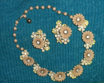 Vintage Coro Signed Spring Flowers Necklace and Earrings Set