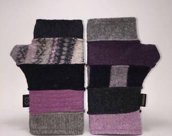 Baabaazuzu Purple, Black & Gray Felted Wool Fingerless Gloves