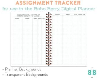 DIGITAL Assignment Tracker for the Boho Berry Digital Planner