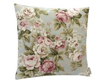 Stunning floral Chintz  Duck egg Blue Pink Green Cream cotton fabric retro made in Britain cushion cover pillow case home bedroom sofa
