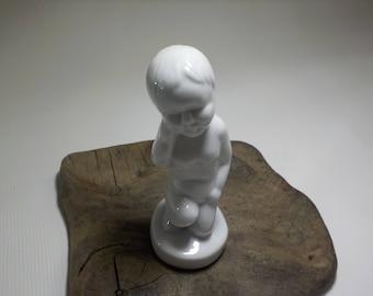 Vintage Little Boy Statue white glazed ceramic-Baby Boy Statue