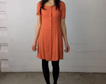 Tangerine button up square neck short sleeve 80s 90s dress orange size small