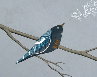 The Ghosts of Their Departed Leaves 4 - Archival 8x8 Art Print - Modern Bird Painting - by Natasha Newton