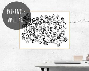 Faces Instant Digital Download, Human Figure Drawing, People Print, Minimalist Poster, Drawing and Illustrations, Printable Wall Art, Sketch