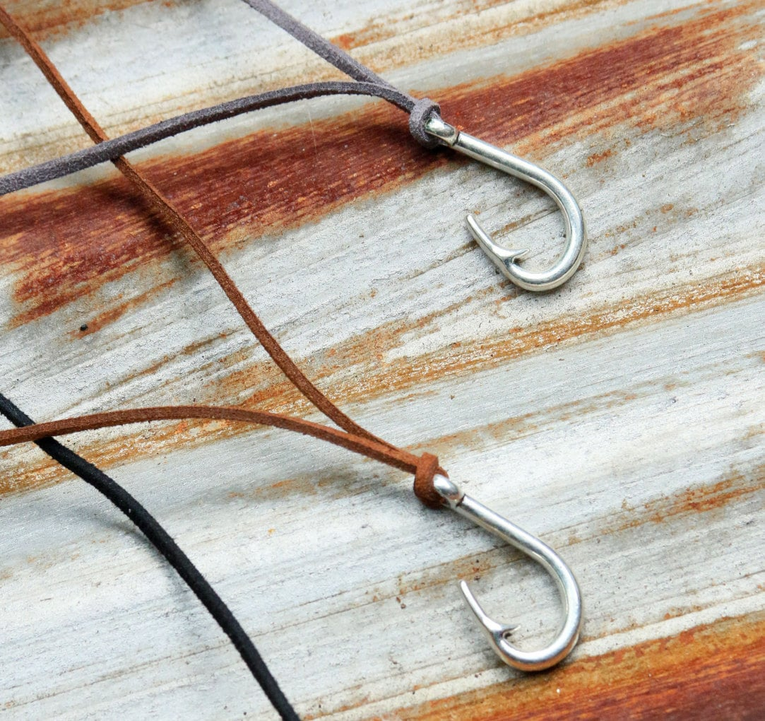 Fish Hook Necklace Fish Hook Pendant Fishing Hook Jewelry Fish
