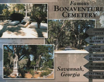 Savannah, Georgia, Postcards, c1980s, fair shape, Unused, Bonaventure Cemetery, Views with Savannah, Vintage
