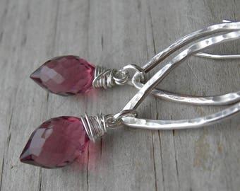 Plum Quartz  Hammered Sterling Silver Earrings