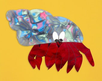 Pre-Order Hermit Crab Acrylic Brooch with Star
