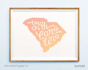 South Carolina print - South Carolina art - South Carolina poster - South Carolina wall art
