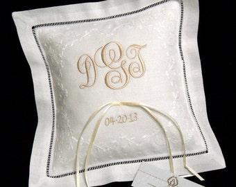 Ring Bearer Pillow, Irish Linen Ring Cushion, Wedding Ring Pillow, jfyBride, Style 5822