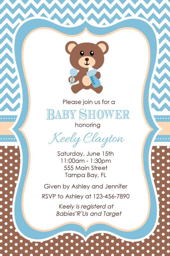 Teddy Bear Baby Shower Invitation Bear Baby Shower