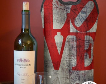 BYOB Wine Bag | Love Park Philadelphia Map | Neoprene Wine Carrier Tote  | Single or Double Available