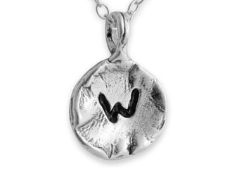 Letter W Passion Initial Coin Charm Pendant Necklace #925 Sterling Silver #Azaggi N0595S_W