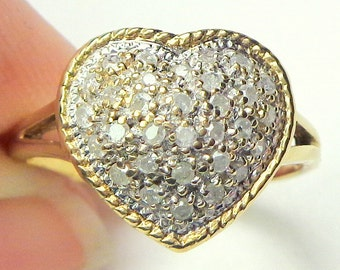 Solid 10k Gold, Pave White Diamonds, Yellow Gold, White Gold, Promise Ring, Pave Setting, Heart Shape Ring, Sweetheart Ring, Diamond Heart