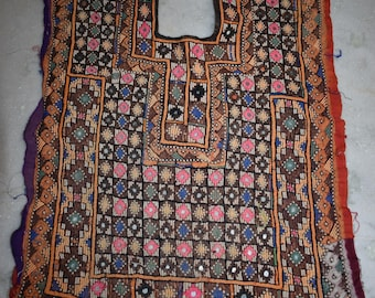 Indian Vintage Neck Yoke Embroidery OF Beads Work And Mirror work Handmade Applique Patch Sewing craft, cotton fabric neck yoke 42