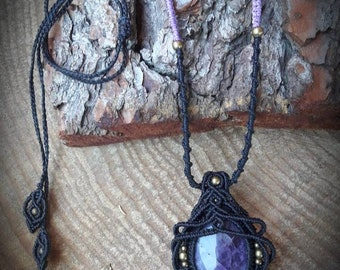 Long necklace talisman amulet black macrame with amethyst and brass beads