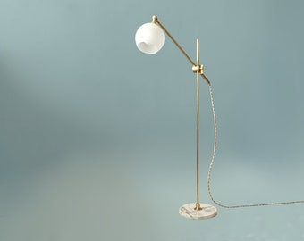 Floor Lamp • Libby • White Marble and Brass Floor Lamp • Task Light • Reading Lamp • Petite Floor Lamp • Floor Lamp