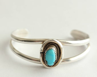 Sterling Silver and sleeping beauty Turquoise  Navajo Bracelet - Free US Shipping