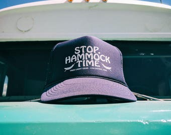 Stop Hammock Time Trucker Hat - Hammock, Camping, Hiking, Mountains