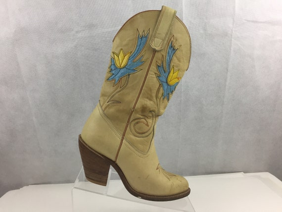 6cce36a9c9b Vintage Miss Capezio Pre Owned Leather Tulip Inlay Western Cowboy Boots  Women's 7M Tan/Blue & Yellow tulipsMade in USA