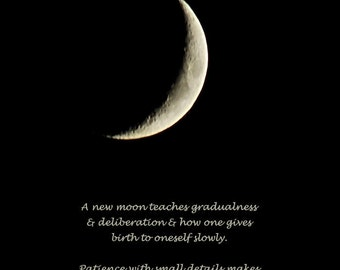 Rumi moon quote, A new moon, waxing crescent moon, silver moon photo, word art photo quote, give birth to oneself, typography print