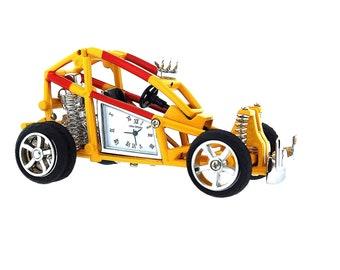 Miniature Yellow Beach Buggy Novelty Desktop Collectors Clock 9976