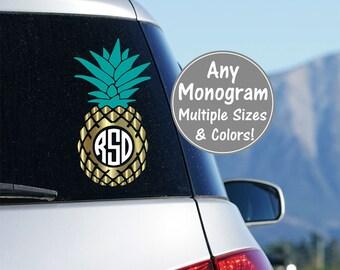Pineapple Monogram Car Decal, Pineapple Car Sticker Vinyl Pineapple Car Decals, Pineapple Decal Monogram, Personalized Pineapple Decal