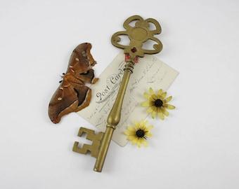 Vintage Solid Brass Skeleton Key Paperweight - Key To The City - Large Brass Skeleton Key Decoration