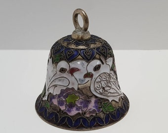 Vintage Asian Cloisonné Purple Enamel Bell with White Birds and Flowers
