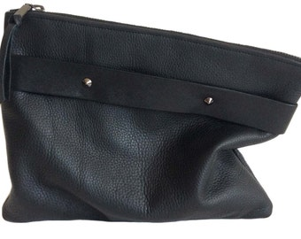 Black leather clutch with handle strap, foldover, oversized, pebble leather