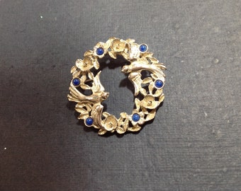Love Birds Brooch Floral Wreath Silvertone and Blue Stones Pin