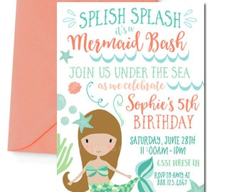 Mermaid Invitation, Mermaid Party Invitation, Mermaid Birthday Invitation, Digital Mermaid Invitation, Coral and Mint, Brunette Mermaid