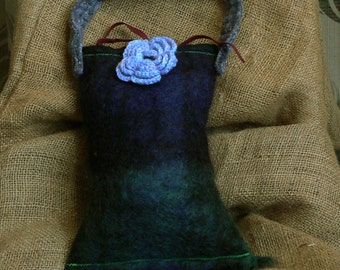 Blue and green felted bag