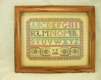 FRAMED CROSS-STITCH: Completed Hand-Embroidered Sampler, Professionally Framed, Ready For Hanging