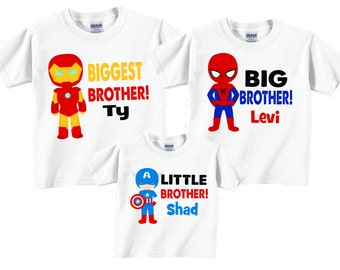 Matching Biggest Brother, Little brother, Big Brother Sibling T shirt set Tees