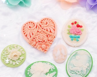 Victorian Romance | Perfect Accents - Set of 6 Assortment Resin Cameo Cabochon Pieces Embellishments. Scrapbooking, cardmaking.
