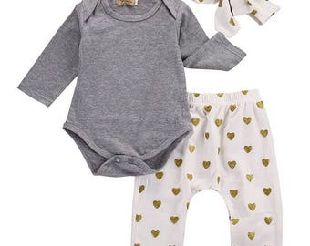 Baby girl gold heart outfit