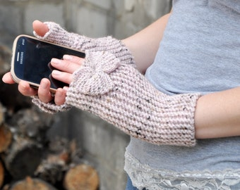 Tweed cosy Fingerless gloves, Mittens Arm Warmer Girlfriend Gift for Her Women Accessories by TTAcc